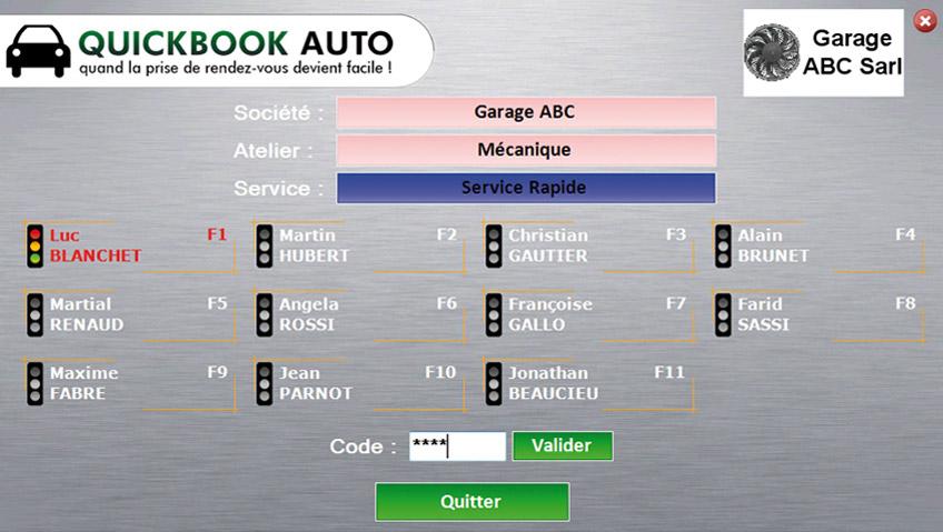 Quickbook Auto, gestion de garage : contrôle d'accès